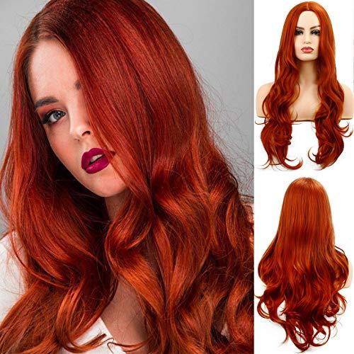 Parrucca arancione per le donne Parrucca per capelli lunghi ricci e ondulati Parrucca sintetica per cosplay Full Party in costume di Halloween