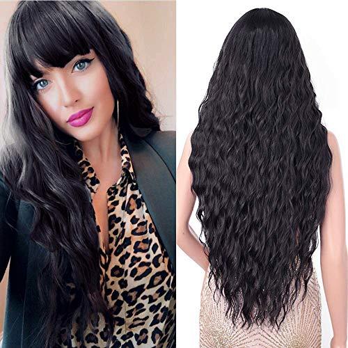 Parrucca lunga donna nera con frangia, YEESHEDO parrucche capelli naturale lunghi ricci ondulati sintetica capelli black wig 28'(nero)