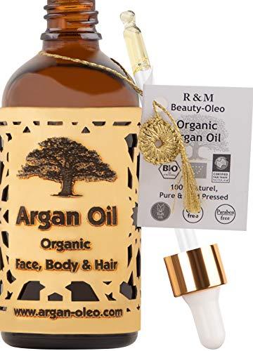 R&M - Olio di Argan biologico pressato a freddo - Olio dal Marocco per capelli, viso, unghie e labbra, contro cicatrici e brufoli e come olio per massaggi - Flacone con contagocce (100 ml)