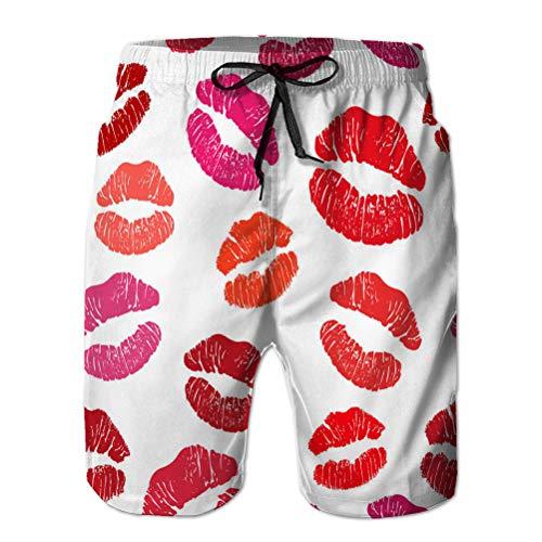 Xunulyn Pantaloncini da Uomo, Costume da Bagno, Pantaloni Casual Rosso Rossetto Bacio Senza Cuciture