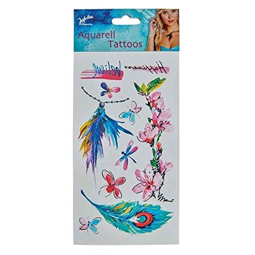 NET TOYS Tatuaggi Adesivi acquarello Farfalle Tattoo temporanei - Tatuaggio Finto Stile Hippy Decorazione Pelle da appiccare da Indiana Tattoo temporanei Hippie Trucco di Carnevale