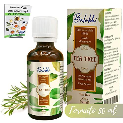 Olio Essenziale Tea Tree + Ebook Incluso • MADE IN ITALY • 100% Naturale per Aromaterapia e Diffusore • Per Imperfezioni Viso come Acne e Brufoli • Capelli Grassi e Fofora • Grado Alimentare 50ml