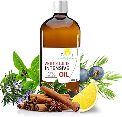 Olio Intensivo Anti cellulite Dimagrante 100% Naturale con Oli essenziali di limone, rosmarino, cannella, basilico e ginepro 1000 ml - Penetra 6 volte più in profondità