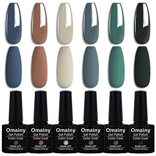 Omainy Smalto Semipermanente Smalti Semipermanenti Per Unghie Nail Polish UV LED Gel Unghie (Kit di 6 pcs 7.3ML/pc) 002