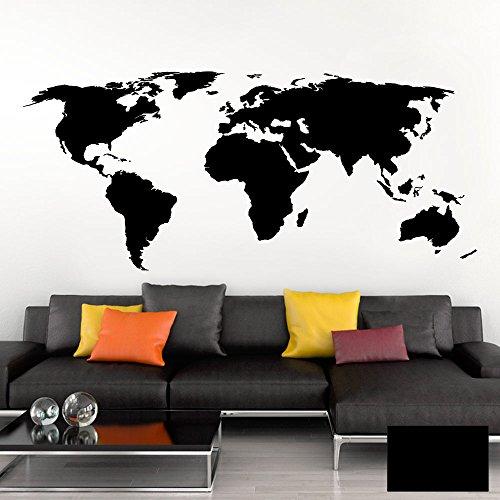 Grandora Adesivo Murale Mappamondo Terra Globo I Nera (BxH) 120 x 53 cm I Soggiorno Adesivo Parete Muro Tatuaggio Mondo Mappa del Atlante Camera da Letto W698