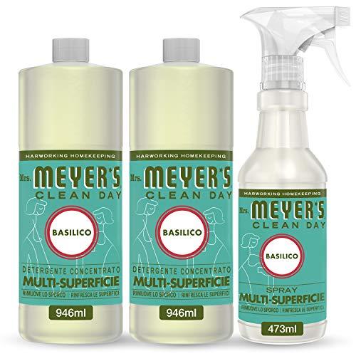Mrs Meyer's Clean Day -1 Spray Multisuperficie + 2 Detergente Concentrato Multisuperficie - Fragranza Basilico - Prodotti creati con Oli essenziali - 1 x 473 ml + 2 x 946 ml - Set Pulito