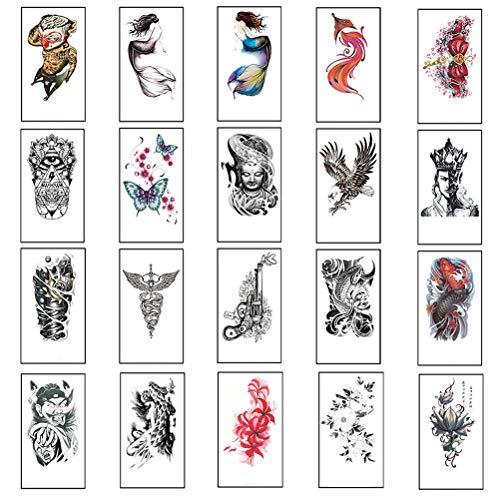 BLWX 10 Fogli di Grandi Dimensioni Braccio Tatuaggi temporanei for Uomini e Donne, Geisha Giapponese Tiger Mermaid Fiori Caratteri Cinesi Falso del Tatuaggio del Corpo Adesivi, 19x12cm (Colore : C)