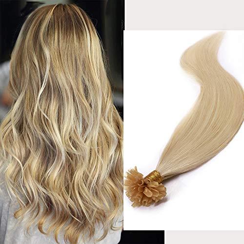50cm Extension Cheratina Capelli Veri Biondo 100 Ciocche Biondo 100% Remy Human Hair Naturali U-tip, 50g 60# Biondo Platino