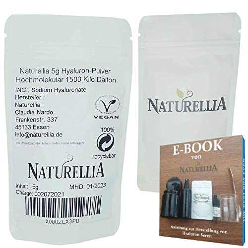 Naturellia Acido Ialuronico Polvere 5 Grammi 1500k-Dalton Altamente Concentrato - Alta Molecolare Peso Per Effetto Superficiale per Solo Mescolarsi Una Crema Anti-Etá a Casa