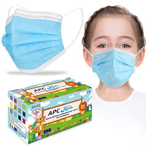 KARAEASY Mascherine chirurgiche Bambini Certificate Dispositivo Medico Tipo II BFE 98% Certificate Mascherina Box 50 Pezzi Blu