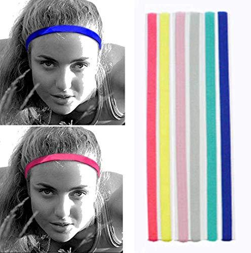 Edary Sports - Fascia elastica sottile per capelli, con doppia cinghia, antiscivolo, in silicone, per calcio, pallacanestro, yoga, accessori per capelli per donne e ragazze (4 pezzi) (stile 2)