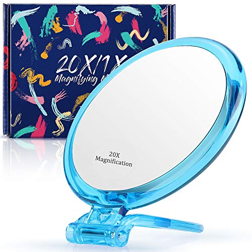 Specchio ingranditore 20x / 1x due lati, specchio ingranditore a doppia faccia con supporto, specchio a mano ingrandito per trucco, rimozione punti neri/comedoni (12,7 cm, 20x1x, blu)