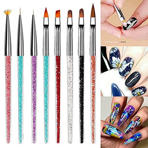 8pcs Nail Art Crystal Brush Set, fine nail brushes for nail art decorating,acrylic nail brush set,gel nail brush set,nail art dotting pens professional nail dotting pens