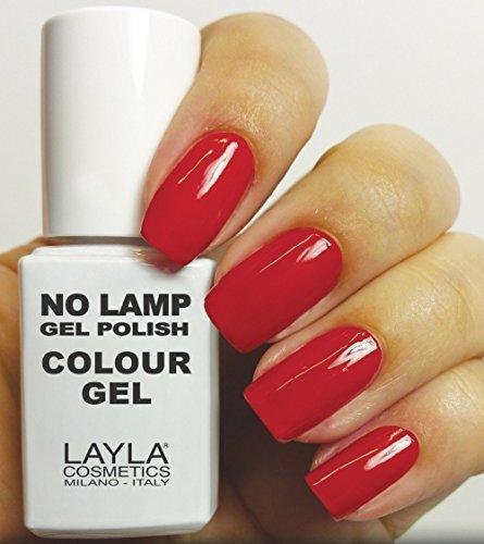 Layla Cosmetics Milano - Smalto gel per unghie, senza lampada, colore: Rosso (Red Vegas)