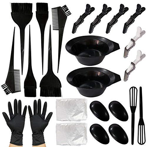 Corrines, Kit per tingere i capelli, strumenti per salone di bellezza, per colorazione fai da te, con pennelli, ciotole, copriorecchie, cucchiaio per mescolare, fermagli per capelli, guanti