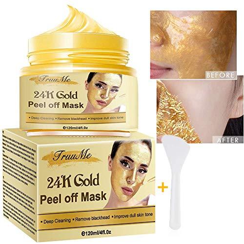 Maschera Peel Off, Peel-Off Maschera, Blackhead Remover Mask, Maschera d'oro 24k, rimuove punti neri pulizia, per pulizia profonda della pelle, riduce i pori e le rughe-120g
