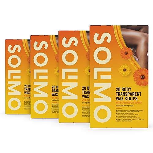 Marchio Amazon - Solimo - Strisce depilatorie trasparenti per corpo con estratto di calendula con 4 salviette post depilazione, Confezione da 4x20 strisce