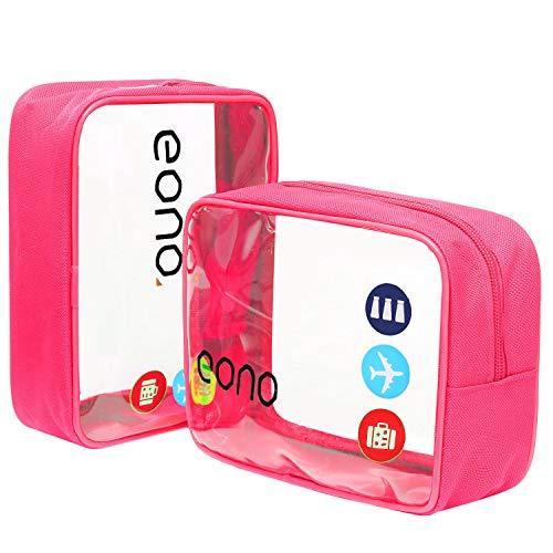 Amazon Brand - Eono Beauty Case da Viaggio Clear Borsa da Viaggio Impermeabile Cosmetici Trousse Trasparente Toiletry Bag Kit da Aereo per Liquidi Sacchetti di Trucco per Uomini e Donne - Rosa, 2-Pcs