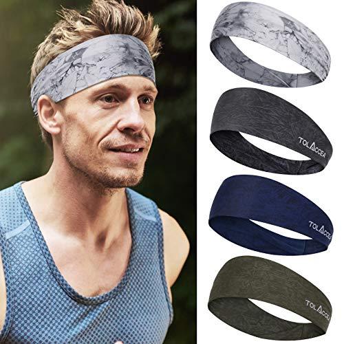 4 Pezzi fascia capelli sportiva larga per uomo e donna, fascia assorbimento dell'umidità, buona fascia elastica per tutti, fasce da allenamento per yoga, corsa, fitness, escursionismo e ciclismo
