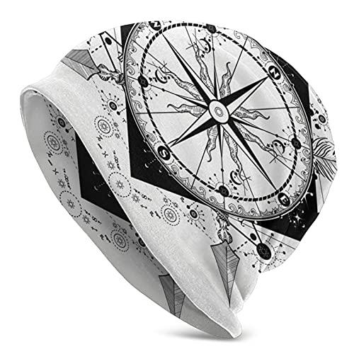 Compass Crossed Frecce Tatuaggio Donne Slouch Beanie Cappello Caldo Maglia A Righe Inverno Beanie Cap