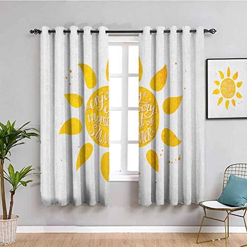 Songdayone - Tende oscuranti da salotto con sole, lunghezza 213,4 cm, ispirate all'acquerello con sfondo a pois per vacanze a tema vintage illustrazione caffetteria, colore bianco, 84 x 84 cm