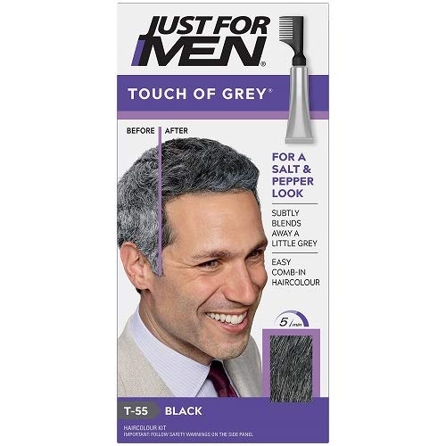 Just for Men Touch of Gray – Nero, Trattamento Colorante Graduale Per Capelli Grigi, per un look brizzolato naturale