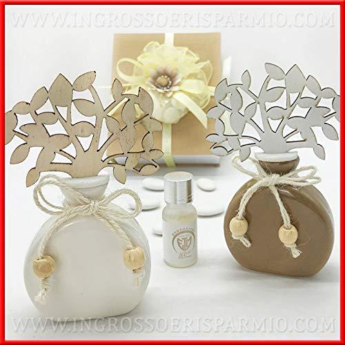 Profumatori per ambienti in ceramica bianca o tortora con albero della vita in legno, bomboniere utili nozze, battesimo, comunione, completo di scatola regalo (Tortora-con confezione panna)