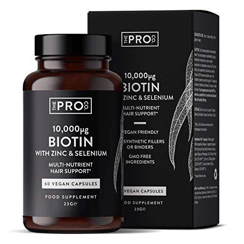 Biotina 10,000mcg con Zinco e Selenio - 60 capsule Vegane - biotina per la crescita dei capelli Integratore – Vitaminer par capelli, unghie e pelle - Sostegno Capelli - Prodotto da The Pro Co.