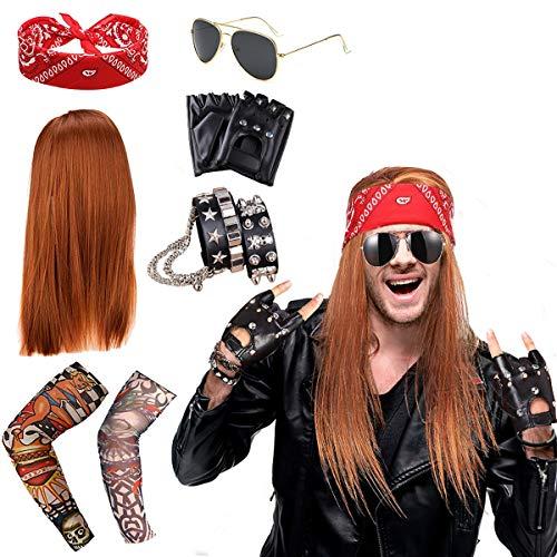 specool Rockstar 90s Heavy Metal Rocker Costume Punk Gothic Kit Anni '70 Anni '80 e '90 con Parrucca,Guanti Punk,Occhiali da Sole,Bandana Rossa,Bracciale Teschi,Copertura Maniche Tatuaggio Braccio