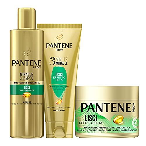 Pantene Pro-V Lisci Effetto Seta 1 Miracle Shampoo 250ml + 1 Balsamo Capelli 3 Minute Miracle 150ml +1 Maschera Capelli 300ml, Idea Regalo
