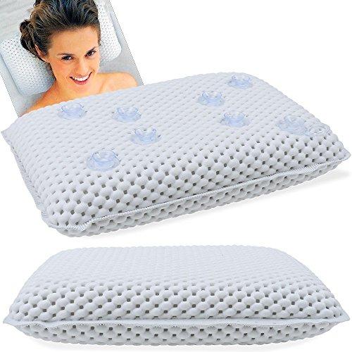 Edco 92280 - Cuscino Morbido Per Vasca Da Bagno Ventose e Poggiatesta Impermeabile, Bianco