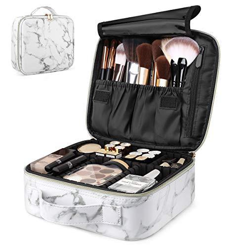 Luxspire Borsa Cosmetica, Borsetto Cosmetico Portatile Professionale per Trucco per Viaggio, Artisti Bagaglio Spazzole Borsa Bagagliaio Organizer Tool con Divisori Regolabili - Marmo Bianco