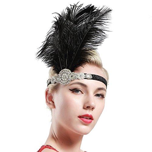 BABEYOND Fascia Anni 20 Gatsby Flapper Headband Fascia Charleston con Piuma Anni 20 Fascia Capelli Gatsby Cerchietto con Piume