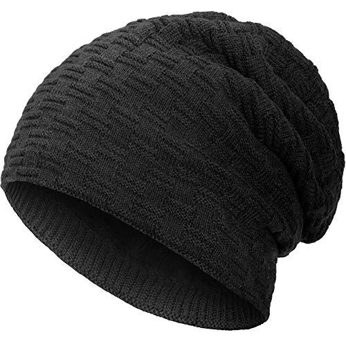 Compagno caldo berretto foderato berretto invernale beanie modello intessuto con soffice fodera interna in pile, Colore:Nero