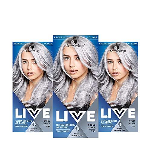 Schwarzkopf Live XXL ultra luminosi, 098 Steel Silver, Confezione da 3 pezzi