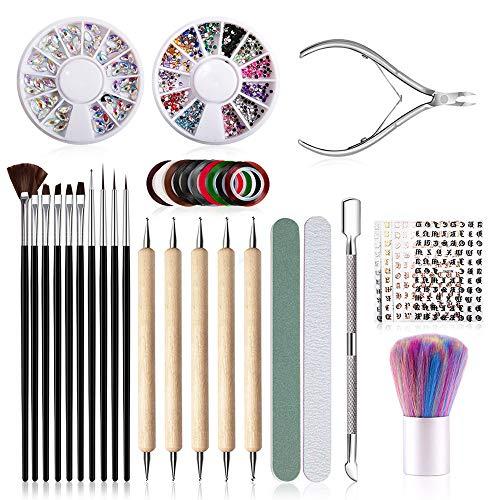 37pz Nail Art Design Set,10pz Set Pennelli Unghie,10pz Strisce per Nail Art,5 Adesivi per unghie,5pz Painting Dotting Detailing Pen,2pz Decorazioni Strass con 5 Nail Tool Kit