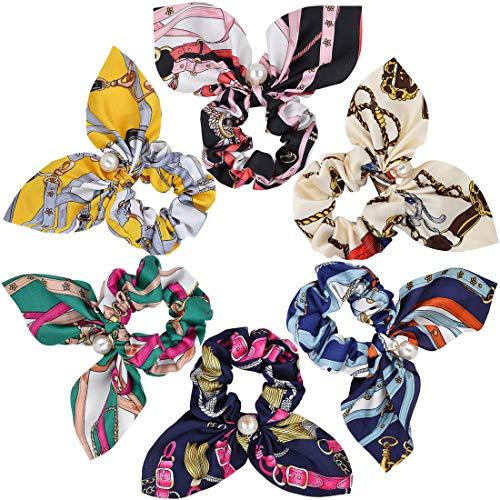 REYOK 6 Pz Capelli Scrunchies Satin Silk Elastic Hair Bands Ponytail Holder Legami Scrunchy Accessori per Capelli Vintage per Donne o Ragazze Accessori per Capelli