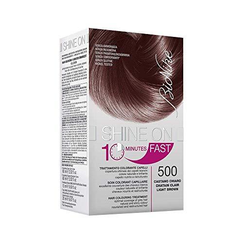 BioNike Shine On Fast Trattamento Colorante Capelli (Tono Castano Chiaro 500) - 1 flacone x 60 ml. + 1 tubo x 60 ml. (Totale 120 ml.)