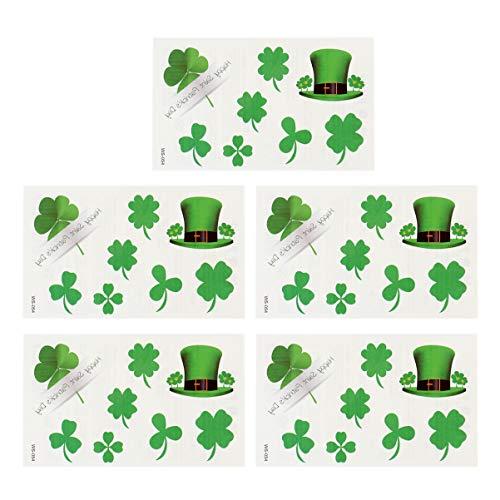 Amosfun 20Pcs Adesivi di Tatuaggi Temporanei Trifoglio Quadrifoglio Quadrifogli per St. Patricks Day Trifoglio Irlandese Shamrock Accessori per La Decorazione Del Partito