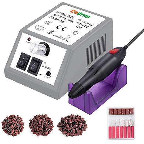 Limetta Elettrica per Unghie Professionale, Cadrim Macchina per Manicure Pedicure Kit perLimare Unghia, Portatile Elettronica Limetta Drill Acrilica (20000RPM) (Grigio)