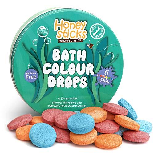 Honeysticks Gocce da Bagno Naturali per Bambini - Ingredienti per Uso Alimentare e Naturali - Ottimo Regalo Come Giocattoli da Bagno - Senza Profumo - 36 Gocce