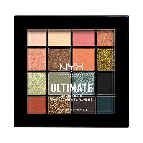 NYX Professional Makeup, Palette Ombretti Ultimate, Pigmenti pressati, Formula vegana, 16 tonalità, Effetto opaco, satinato, metallico, Tonalità: Ultimate Utopia