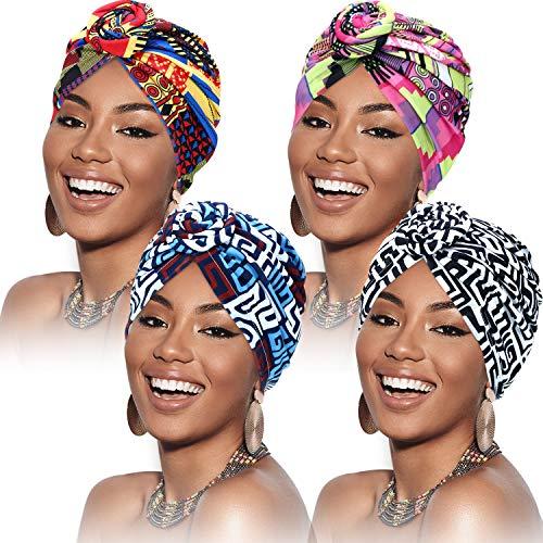 SATINIOR 4 Pezzi Turbanti per Donne Modello Africano Cappello Turbante con Nodo Pre-Annodato a Fascia Berretto (Geometria Blu Rosa Nera Colorata)