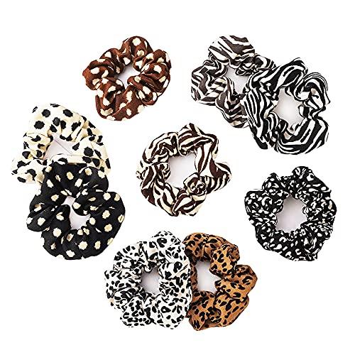 9 Pezzi Scrunchies per Capelli Leopardati Bande Elastiche per Capelli in Velluto con Stampa Animalier per capelli di donna & ragazza