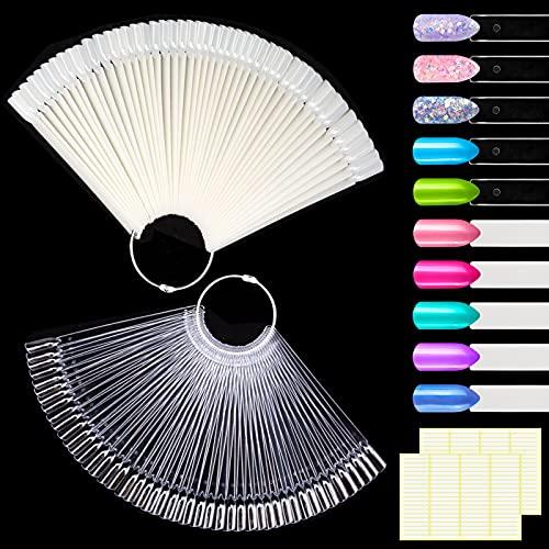 MELLIEX 100pcs Espositore a Ventaglio Nail Art Display Set Colore Trasparente e Naturale, Smalto per Unghie Accessori per Carte Colorate Bastoncini con Adesivi e Supporto Anello