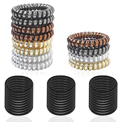 SourceTon - Set di 42 fascette per capelli a spirale e elastici spessi, fascette per capelli e cravatte elastiche intrecciate da 4 mm
