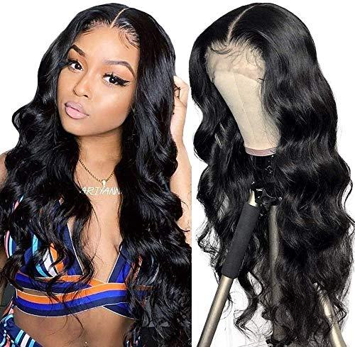 Parrucca umani naturale wavy lunghi 💖Middle lace front wig human hair wigs body wave capelli veri al 100% umani brasiliani vergini neri 26inch/65cm