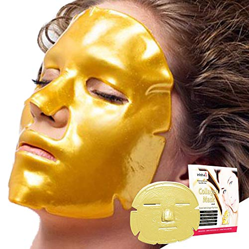 10 x New Crystal 24K Gold Powder Gel Collagen Face Mask Masks Sheet Patch, Anti Ageing Aging, Skincare, Anti Wrinkle, Moisturising, Moisture, Hydrating, Uplifting, Whitening, Remove Blemishes & Blackheads Product. Firmer, Smoother, Tone, Regeneration Of Skin. Suitable For Home Use Hot or Cold.