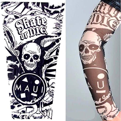 KIRALOVE Manicotto Tattoo - Manica - Tatuaggio Finto - Immagine - Teschio - Bandiera - tentacoli - Scritta - Skate or Die - Tatoo - Mezza Manica - Tribale - Idea Regalo Originale - w101