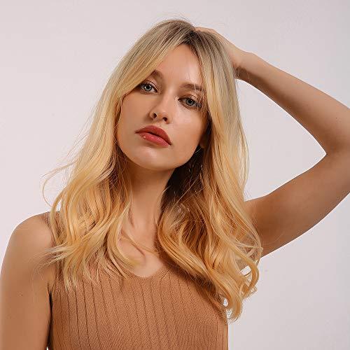 HAIRCUBE Parrucche bionde lunghe ricci con frangia Parte centrale Ombre Lunghezza spalla bianca Capelli naturali Fibra resistente al calore Parrucche sintetiche per le donne